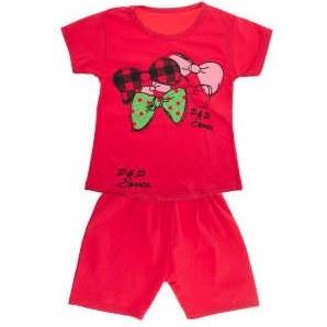 ست تی شرت و شلوارک دخترانه طرح پاپیون رنگ قرمز |