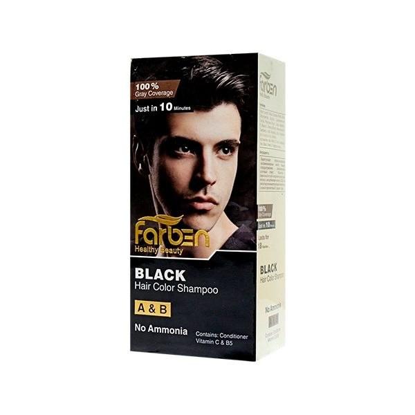 شامپو رنگ موی مردانه مشکی فاربن |