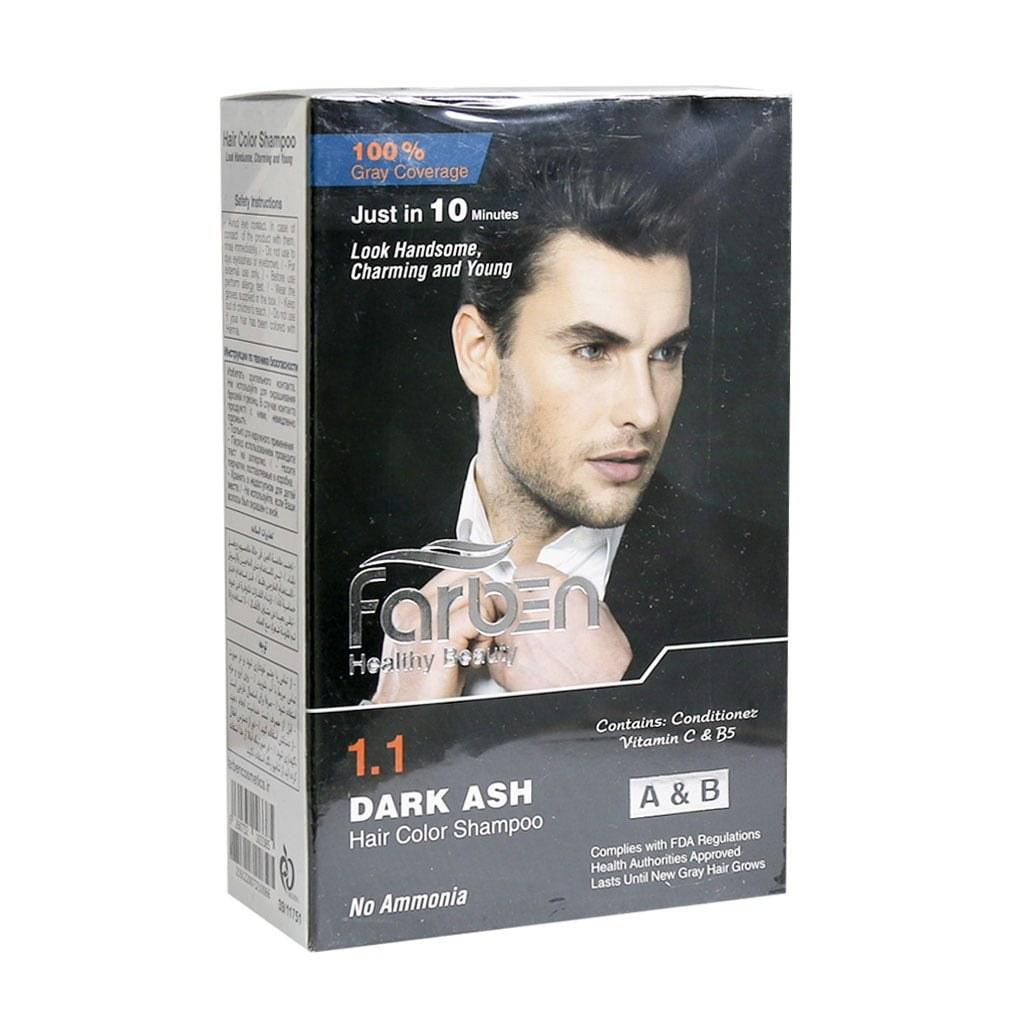 تصویر شامپو رنگ موی مردانه خاکستری تیره فاربن