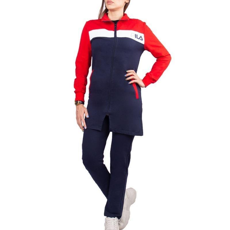 تصویر ست مانتو شلوار ورزشی زنانه طرح فیلا قرمز/سرمه ای