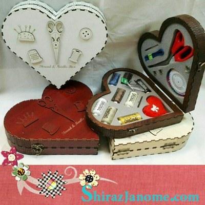 جعبه MDF نخ و سوزن و قیچی عروس طرح قلب |