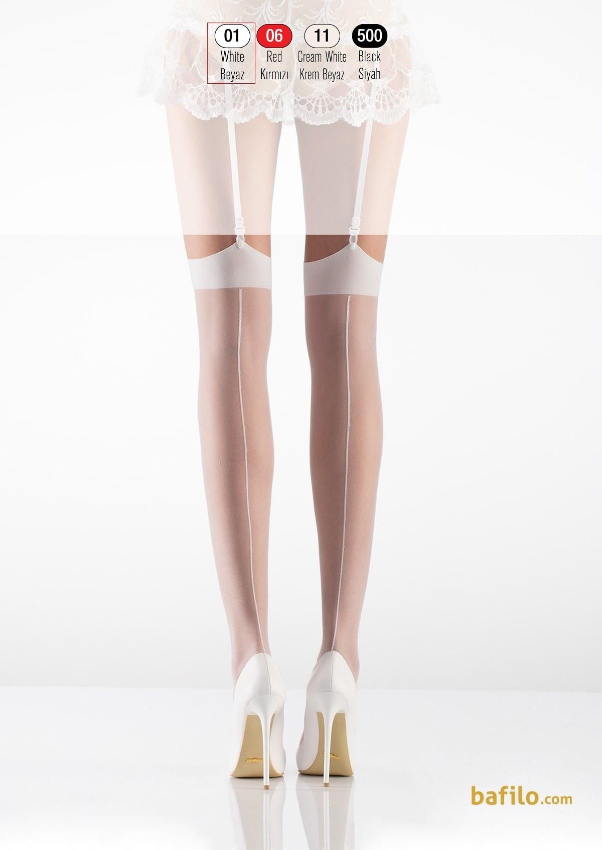 جوراب بالای زانو جارتیر زنانه ایتالیانا Peri - سفید | ایتالیانا | ITALIANA
