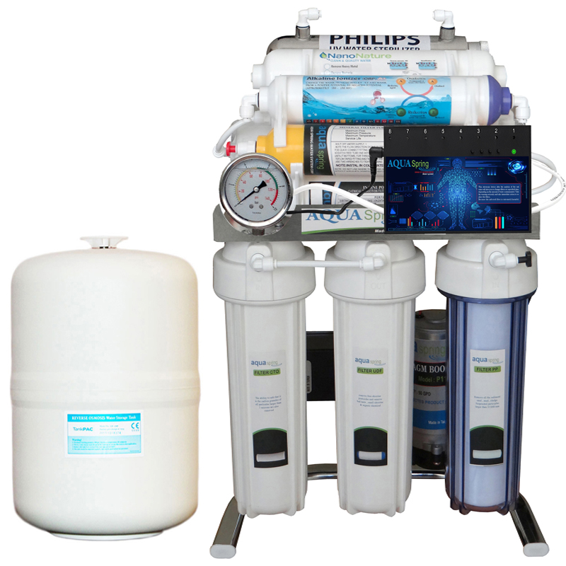 تصویر دستگاه تصفیه آب خانگی ۱۰ مرحله ای آب شیرین کن آکوآاسپرینگ هوشمند با روش اسمز معکوس مدل CHROME-BXN10