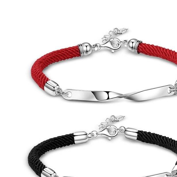 ست دستبند زنانه مردانه نقره - کد PBC027