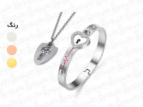 تصویر ست گردنبند و دستبند قفل و کلید طرح دوستت دارم به صد زبان دنیا  11801