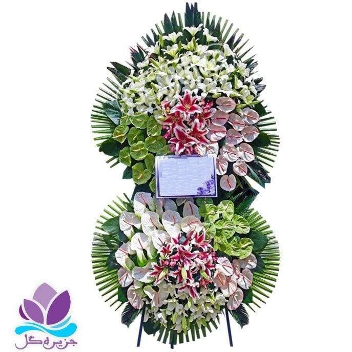تصویر تاج گل ترحیم 2 طبقه 3متری جزیره گل