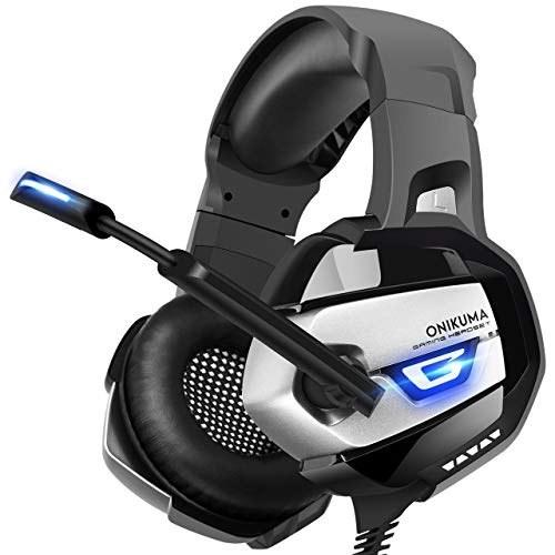 تصویر هدست استریو ONIKUMA PS4، Xbox One، PC، پیشرفته 7.1 صدای فراگیر، به روز شده در نوک انگشت شستشو هدفون میکروفون، نرم تنفس ویژه، صدای خاموش و کنترل صدا نینتندو لپ تاپ سوئیچ ONIKUMA Stereo Gaming Headset PS4, Xbox One, PC, Enhanced 7.1 Surround Sound, Updated Noise Cancelling Mic Headphones, Soft Breathing Earmuffs, Mute & Volume Control Nintendo Switch Laptop