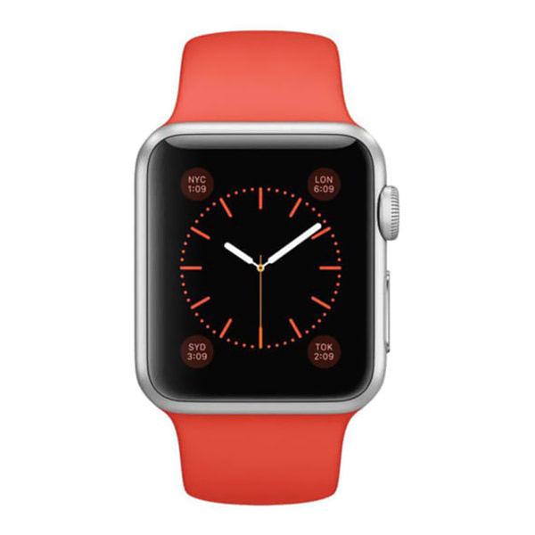 ساعت هوشمند اپل واچ مدل 38mm Silver Aluminium Case With Orange Sport Band