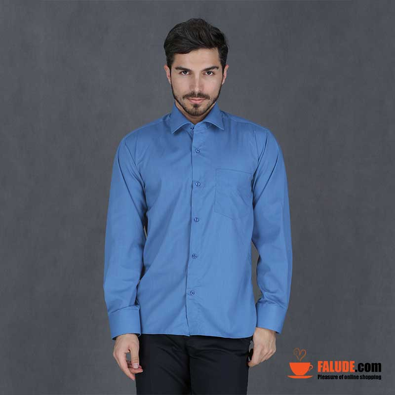 پیراهن تترون مردانه آستین بلند آبی هجرت  