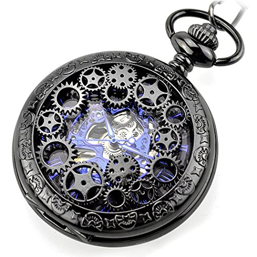 Steampunk Golden Gears Copper Case Skeleton Mechanical Pendant Pocket Watch with Chain/Gift Box