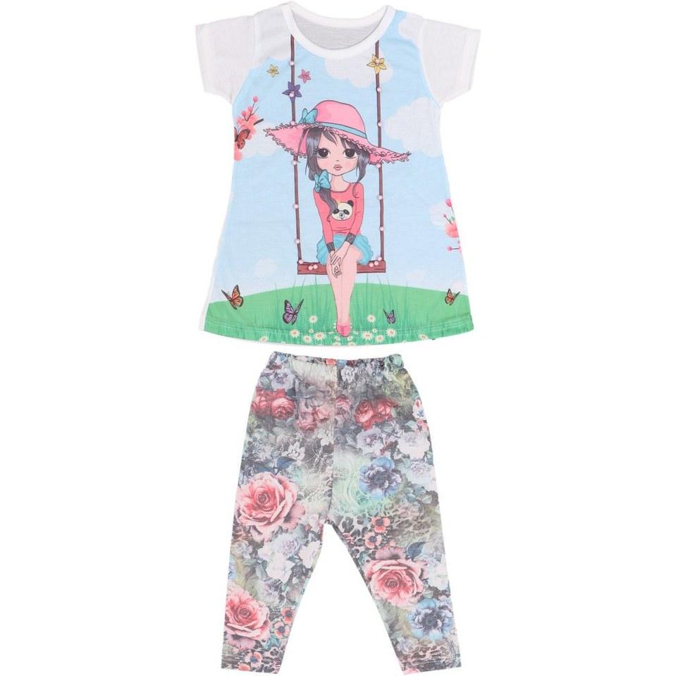 تصویر ست تی شرت شلوار دخترانهOYKUM طرح تاب