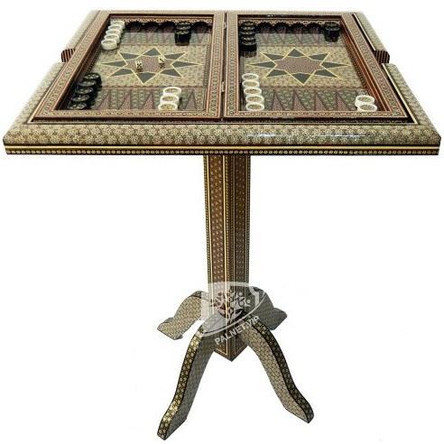 تصویر میز نفیس تخته نرد و شطرنج خاتم شیراز