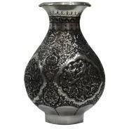 تصویر قلم زنی  هنر اصفهان گلدان  قلم زنی  گل و مرغ