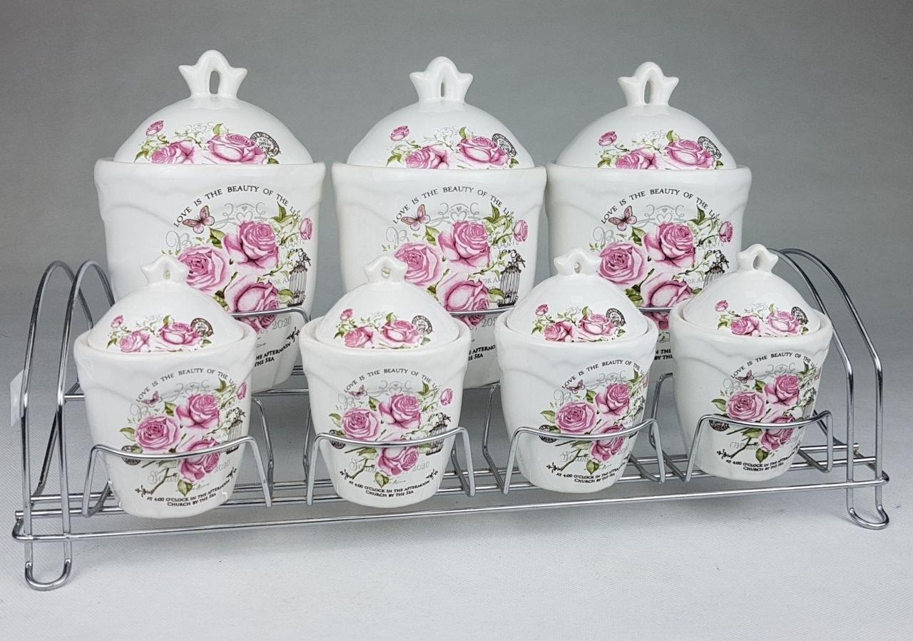 تصویر ⚛ سرویس پاسماوری 7 پارچه (سرامیک/فلز) گلدار در 2 طرح مختلف