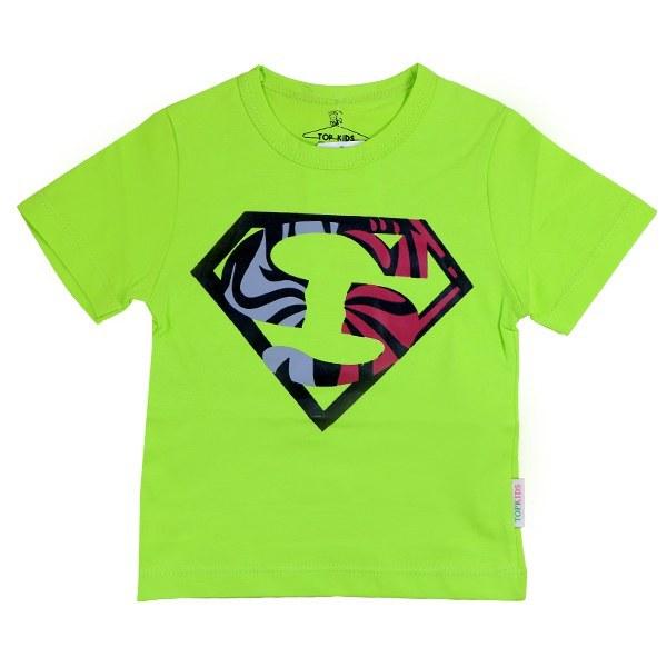 تیشرت پسرانه آستین کوتاه تاپ کیدز طرح سوپرمن رنگ سبز