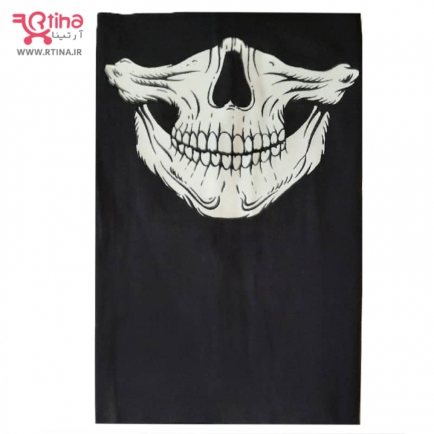تصویر ماسک اسکارف شب تاب طرح جمجمه- اسکلت