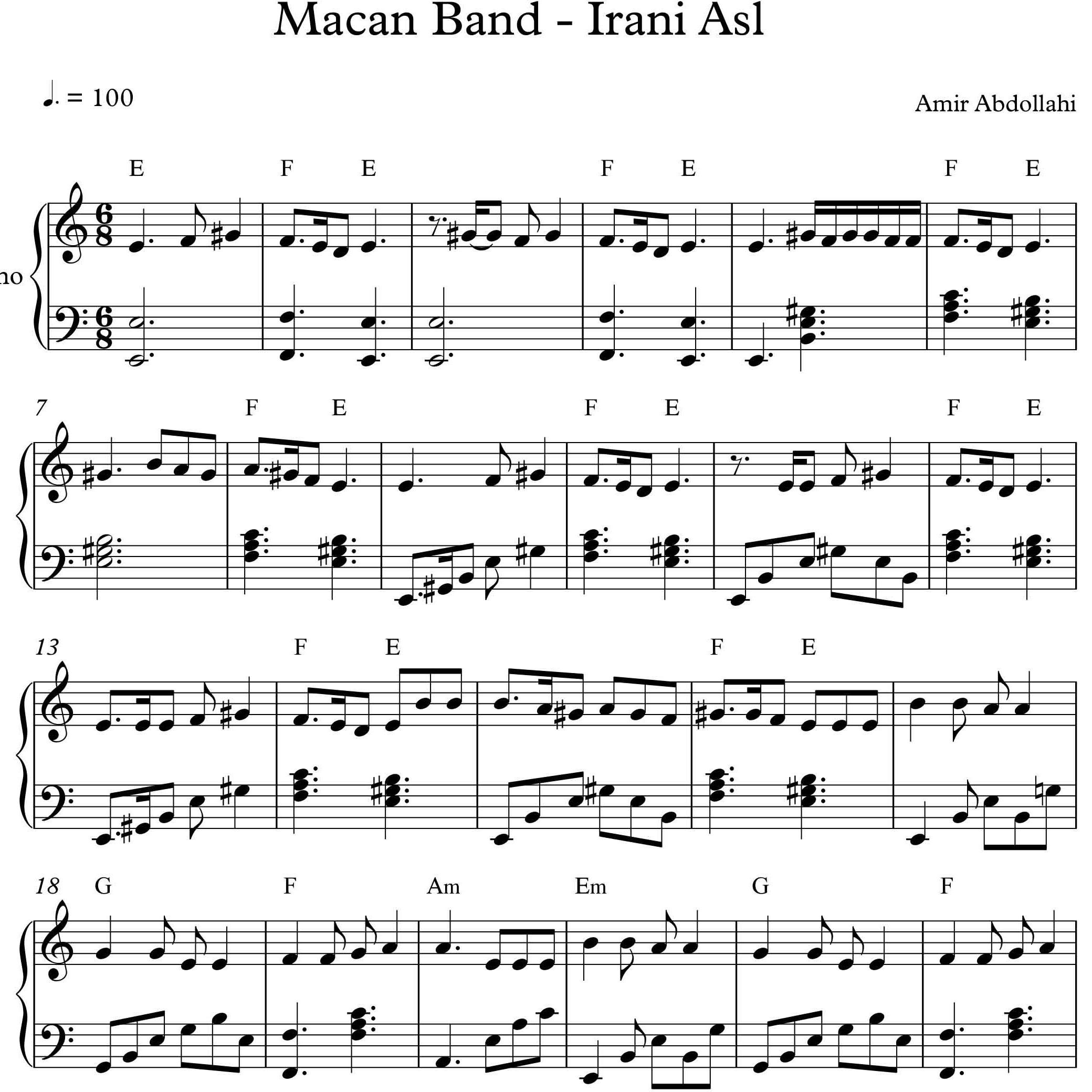 نت آهنگ ایرانی اصل از ماکان بند برای پیانو با تنظیم امیر عبدالهی |