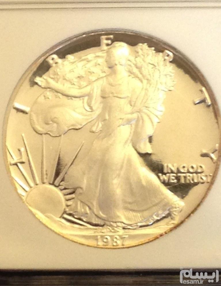 سکه تاریخ کمیاب پروف سیلور ایگل 1987 آمریکا