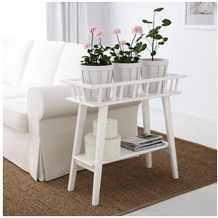 استند گلدان سفید چوبی ایکیا LANTLIV |