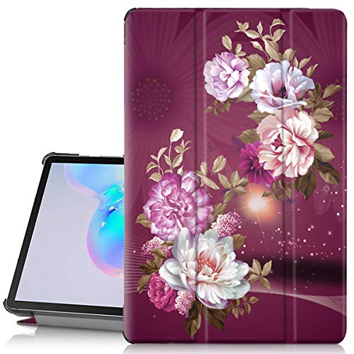 image مورد Hocase Galaxy Tab S6 2019 Case، PU Leather Smart Flip Case با طراحی گل زیبا ، ویژگی خودکار بیداری خواب ، پوشش پشتی سخت برای تبلت 10.5 اینچی سامسونگ Galaxy Tab S6 (SM-T860) - Burgundy Flowers