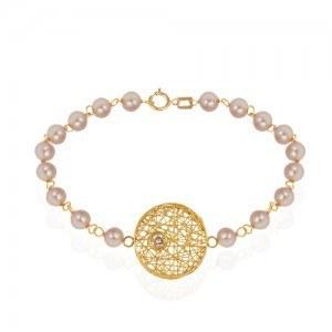 دستبند طلا زنانه طرح فیوژن دایره با نگین و مروارید کد xb715 | دستبند فیوژن دایره با نگین کوبیک زیرکونیا به رنگ سفید با بند زنجیر و مروارید رنگی کار دست