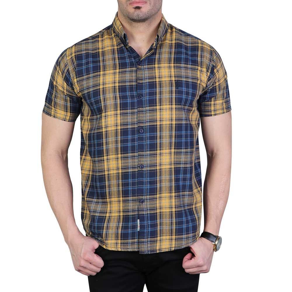 تصویر پیراهن مردانه آستین کوتاه چهارخانه پولو سرمه ای خردلی