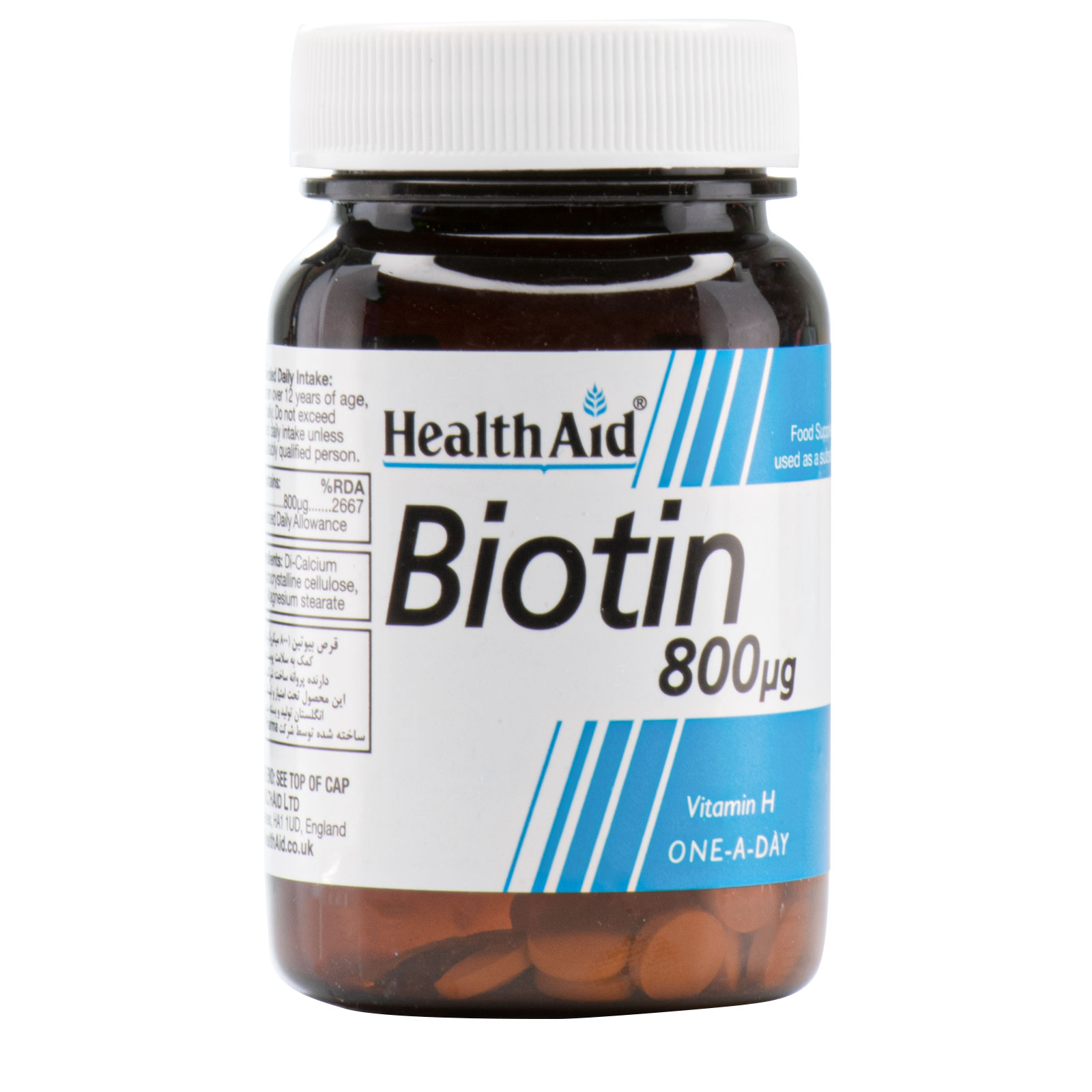 تصویر قرص بیوتین 800 میکروگرم هلث اید 30 عددی Health Aid Biotin 800 mcg 30 Tabs