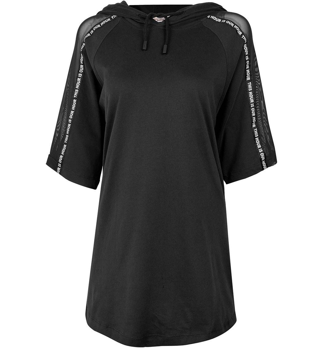 تصویر تی شرت زنانه کلاهدار آستین رگلان مشکیجامه پوش آرا(جی پی ای) ا Jpa Women Hooded Tshirt Black Jpa Women Hooded Tshirt Black