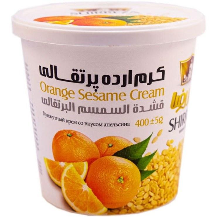 تصویر کرم ارده پرتقالی شیررضا مقدار 400 گرم