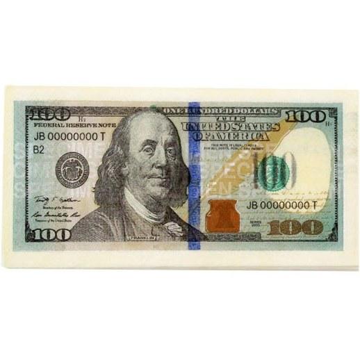 تصویر دستمال سفره طرح 100 دلار بسته 10 عددی