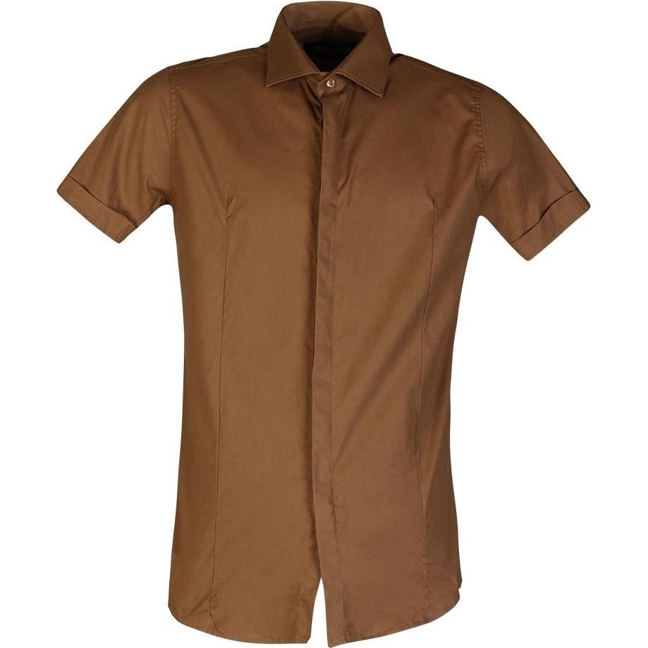 پیراهن مردانه ساده کوتاه قهوه ای