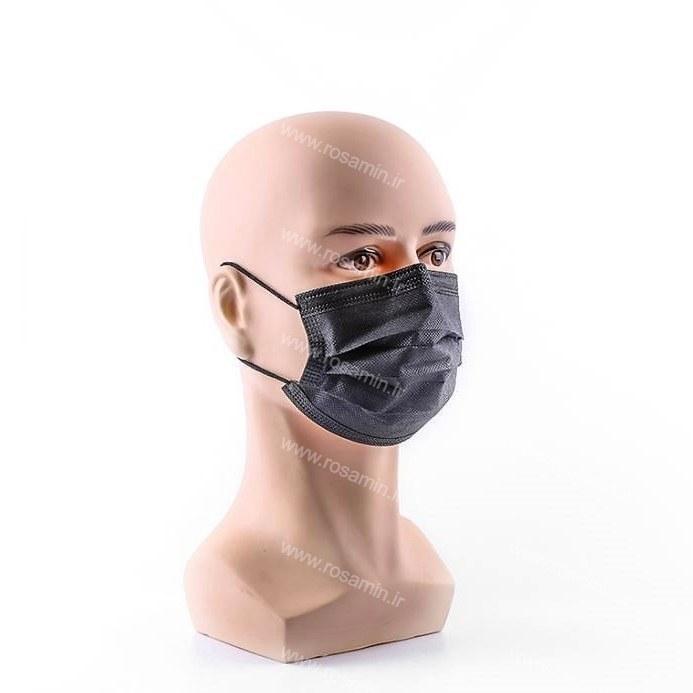 ماسک تنفسی سه لایه ملت بلون دار پرستاری رنگ مشکی ۵۰ عددی