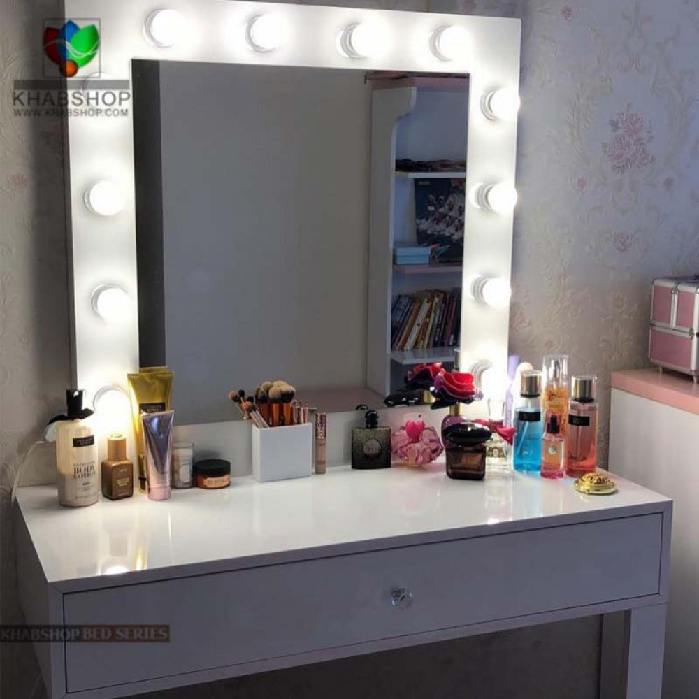 تصویر ست میز آرایش با آینه چراغ دار 1
