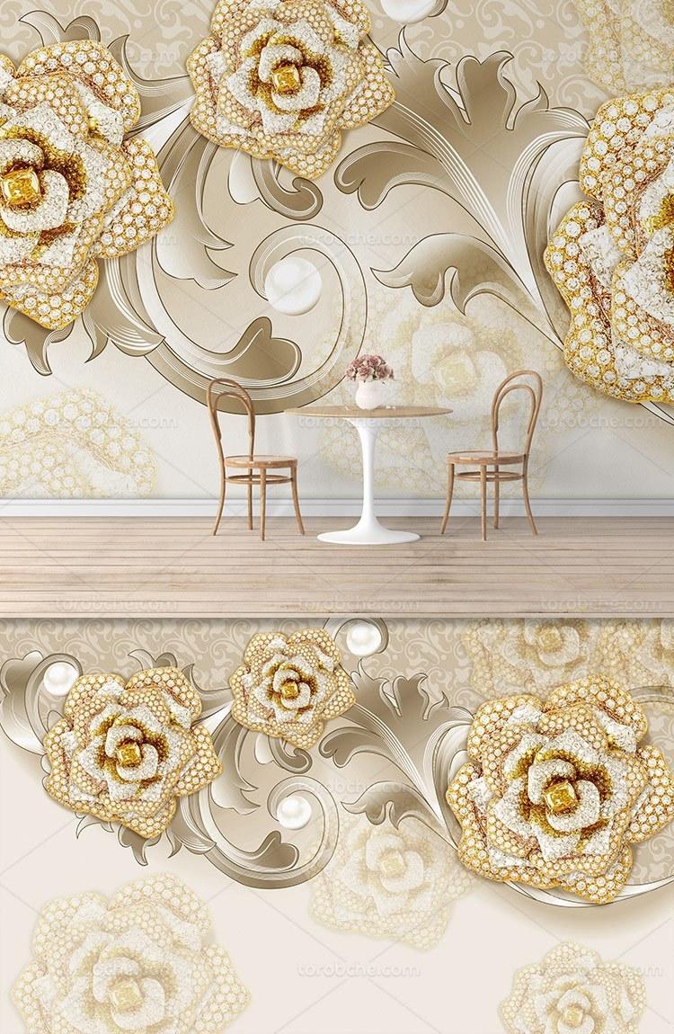 تصویر کاغذ دیواری گل رز نگین دار