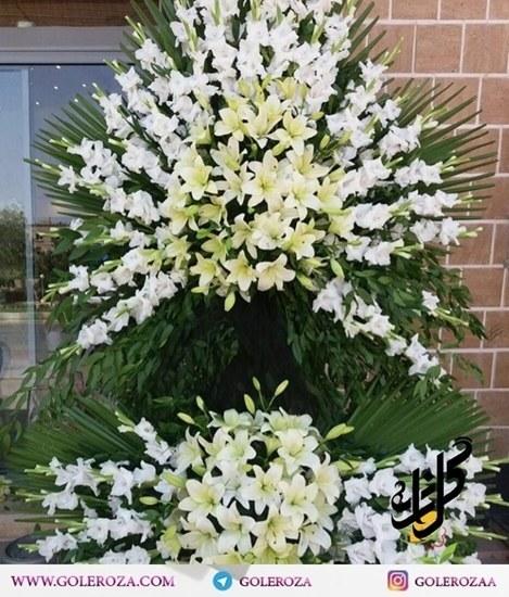 تصویر تاج گل ترحیم دوطبقه گلایل سفید و لیلیوم زرد