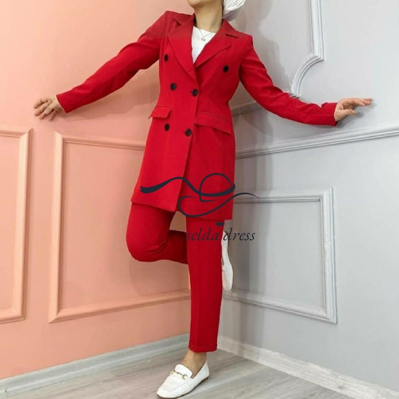 تصویر کت و شلوار جدید ۱۴۰۰ کت و شلوار دخترانه و زنانه ۱۹۵ - قرمز / ۳۶ ا 195 195