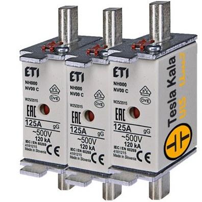 تصویر مجموعه سه تایی فیوز کاردی ETI آمپر 2 تا 160، gG پایه کوتاه با نشانگر، سایز 00C