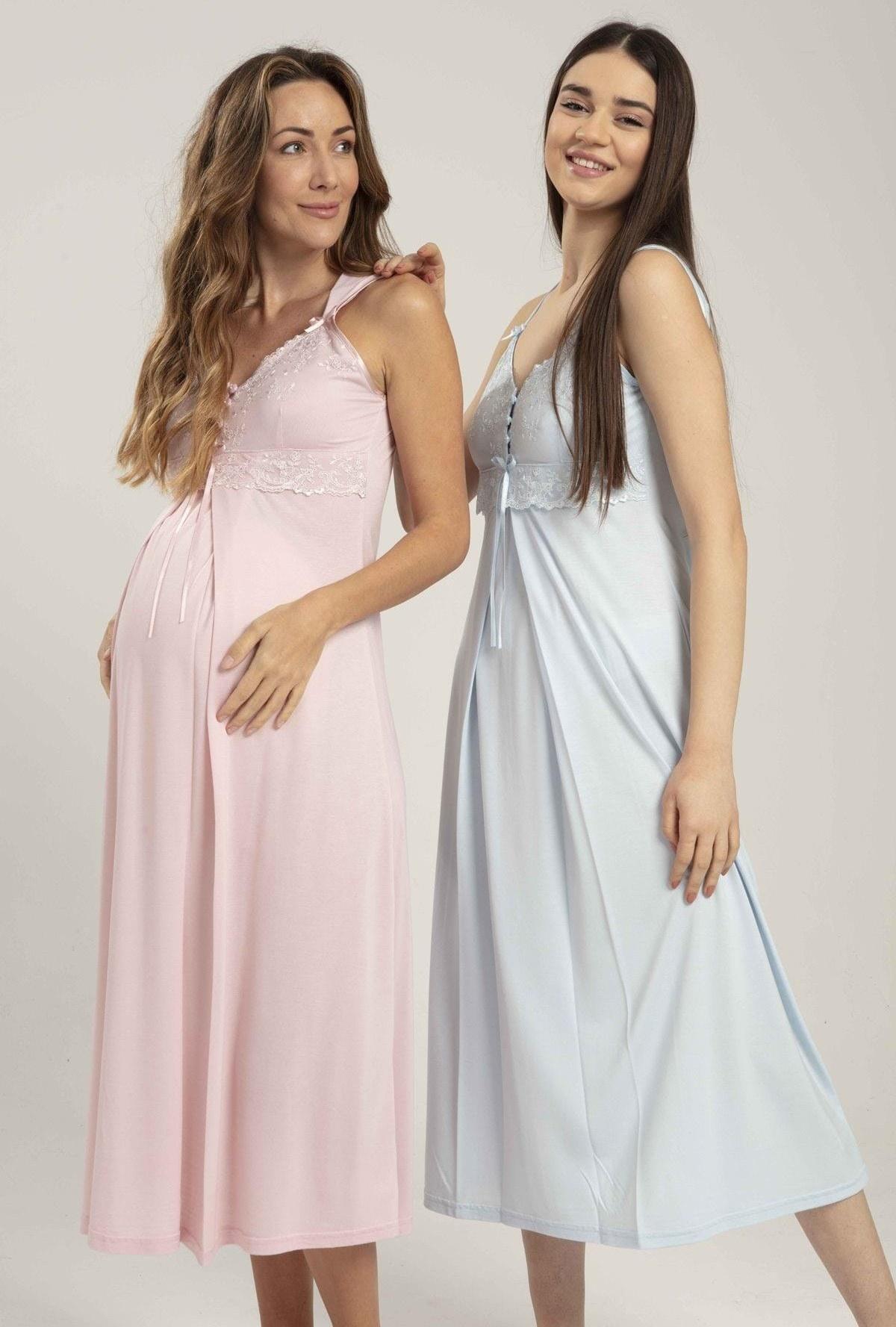 تصویر لباس شب بارداری زنانه تابستانی بنددار کلفت پودر برند Lohussa کد 1617068942