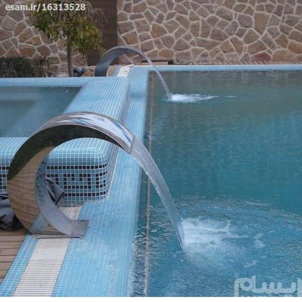 آبنما استخر استیل کرتین | آبنمای استخری استیل طرح موج مخصوص استخر های روباز و سربسته میباشد.