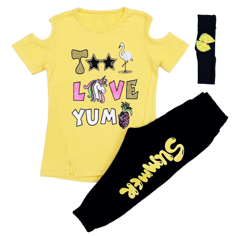 تصویر ست تیشرت و شلوارک و تل دخترانه مدل LOVE رنگ زرد