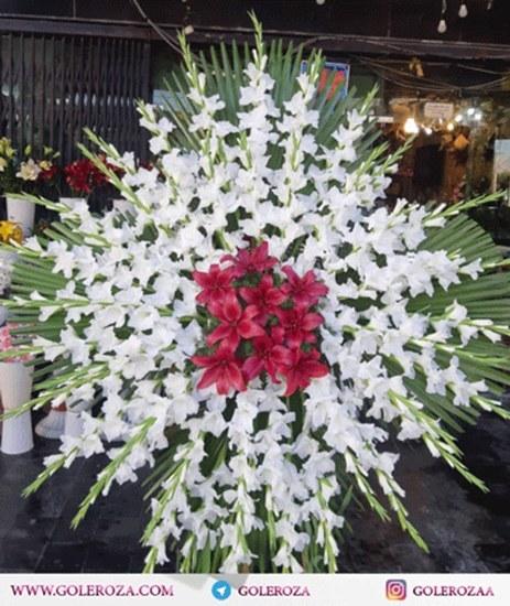 تصویر تاج گل گلایل و لیلیوم صورتی