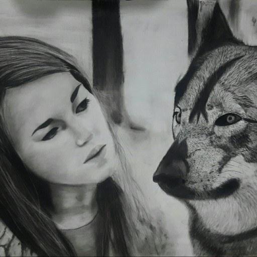 تصویر پرتره گرگ و زن جوان