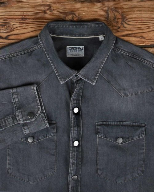 پیراهن جین خاکستری مردانه دو جیب