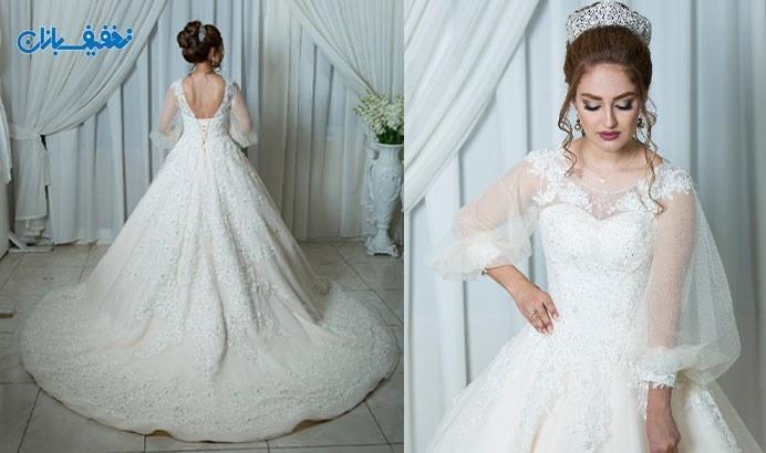 خرید لباس عروس آستین پفی دنباله دار مدل فیونا با ارزان ترین قیمت در مزون خانه سفید (White House) با ۵۰% تخفیف و |