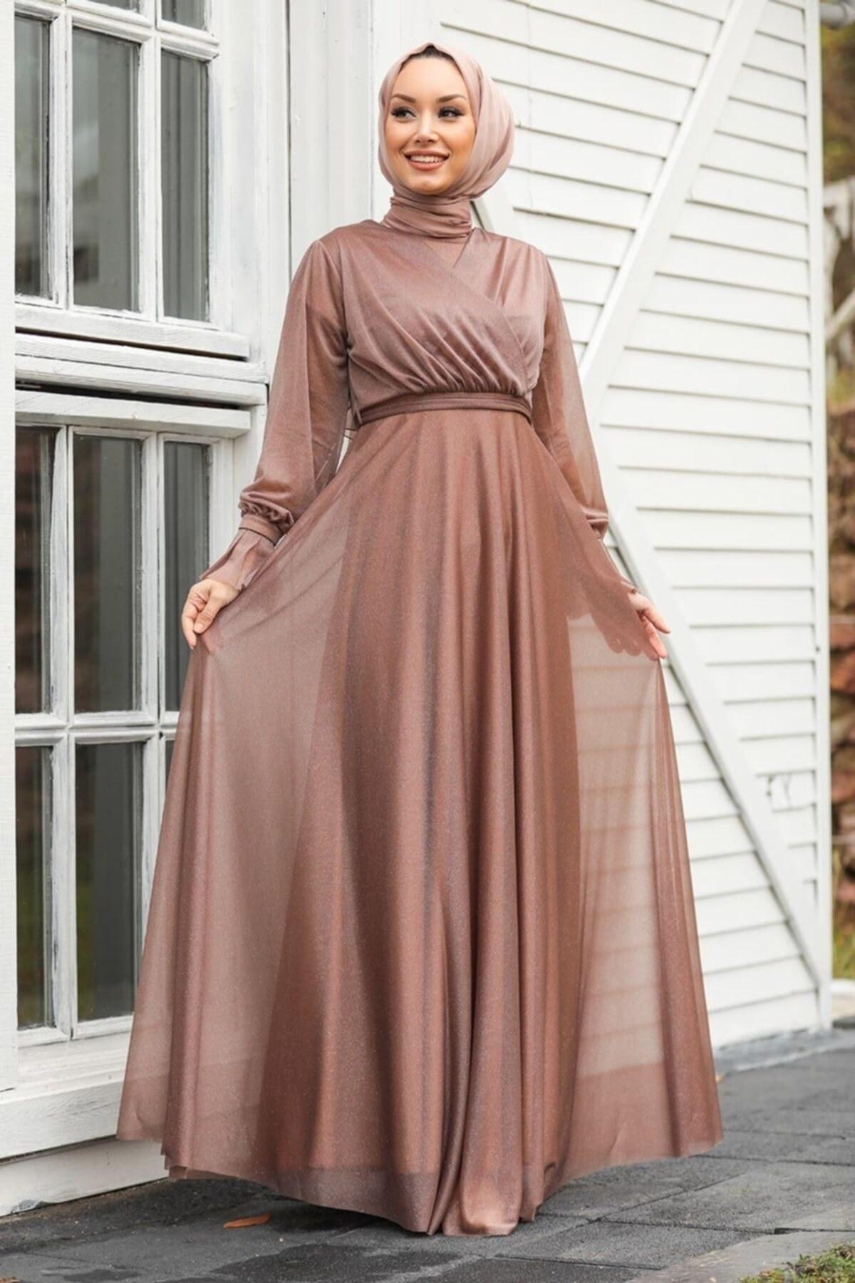 تصویر لباس مجلسی پوشیده محجبه قهوه ای سموری برند Neva Style کد 1621123454