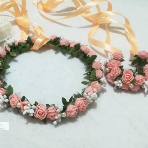 تاج گل سر و دستبند عروس
