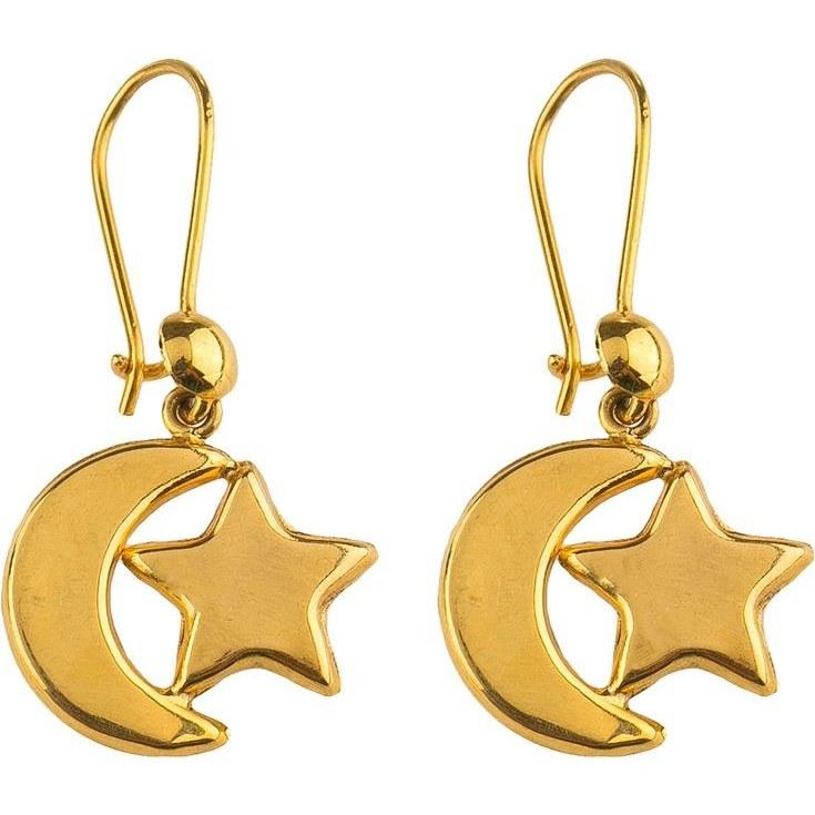 تصویر گوشواره طلا 18 عیار گالری عدنان مدل آویز ماه و ستاره