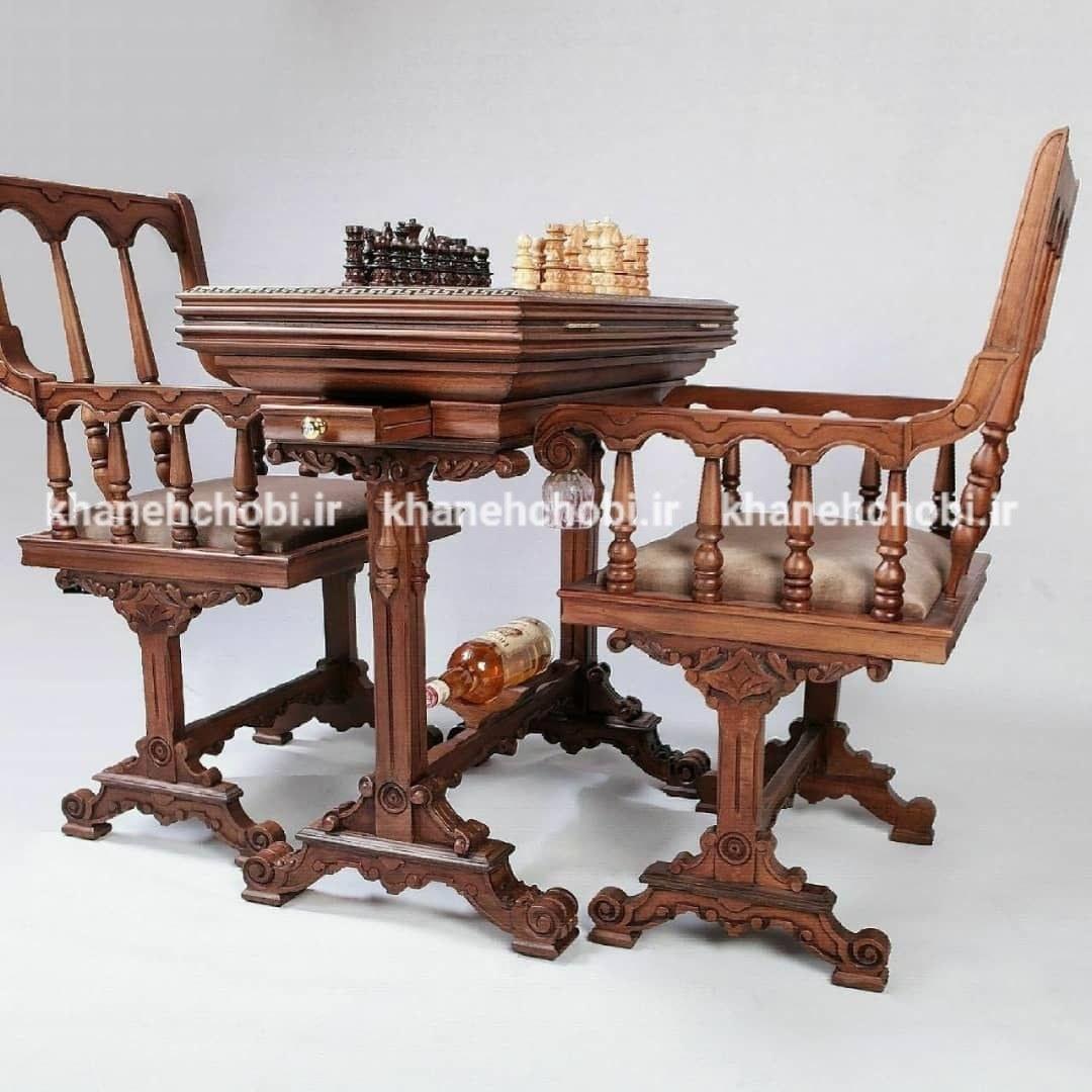 میزبازی تخته نرد و شطرنج چوب راش