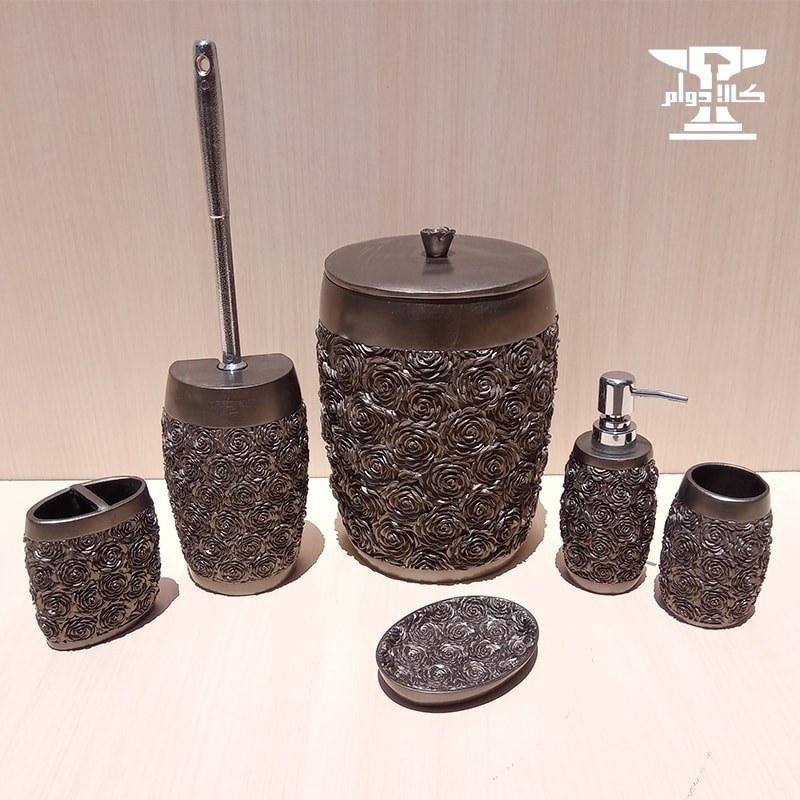 تصویر ست ۶ پارچه دستشویی مدل شکوفه خاکستر | جنس رزین پلی استر