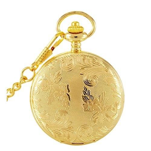 SwitchMe Vintage Carved Quartz Pocket Watch Japan Movement with Belt Clip Chain Gold